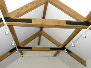 Exposed beams in new ceiling